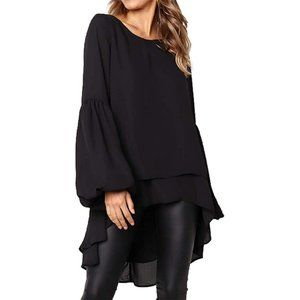 NWT MISSLOOK High Low Lantern Sleeve Top in Black